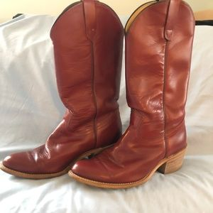 Mens Red Leather Western Boots 8 1/2 EE U.S.A